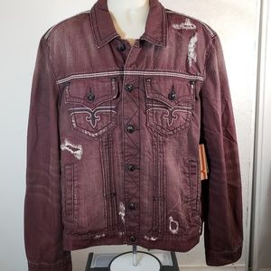 Rock Revival Mens Distressed Red Denim Jacket 2XL